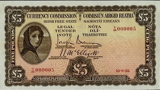 Lot 465 Ireland 5 Pounds 10.9.1928
