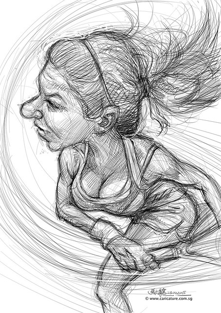 digital caricature sketch of Simona Halep1