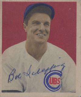 1949 Bowman - Bob Scheffing #83 (Catcher) (d: 11 Aug 1913 - b: 26 Oct 1985 at age 72) - Autographed Baseball Card (Chicago Cubs)