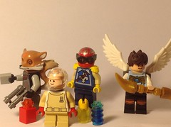 Super Smash Bros. Wave 2  Left to right: Fox McCloud, Olimar and Pikmen, Captain Falcon, and Pit.