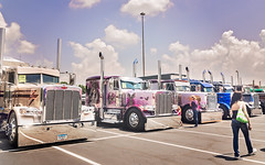 Big rigs wait to be judged at 34th annual Shell Rotella SuperRigs truck beauty contest in Joplin Missouri