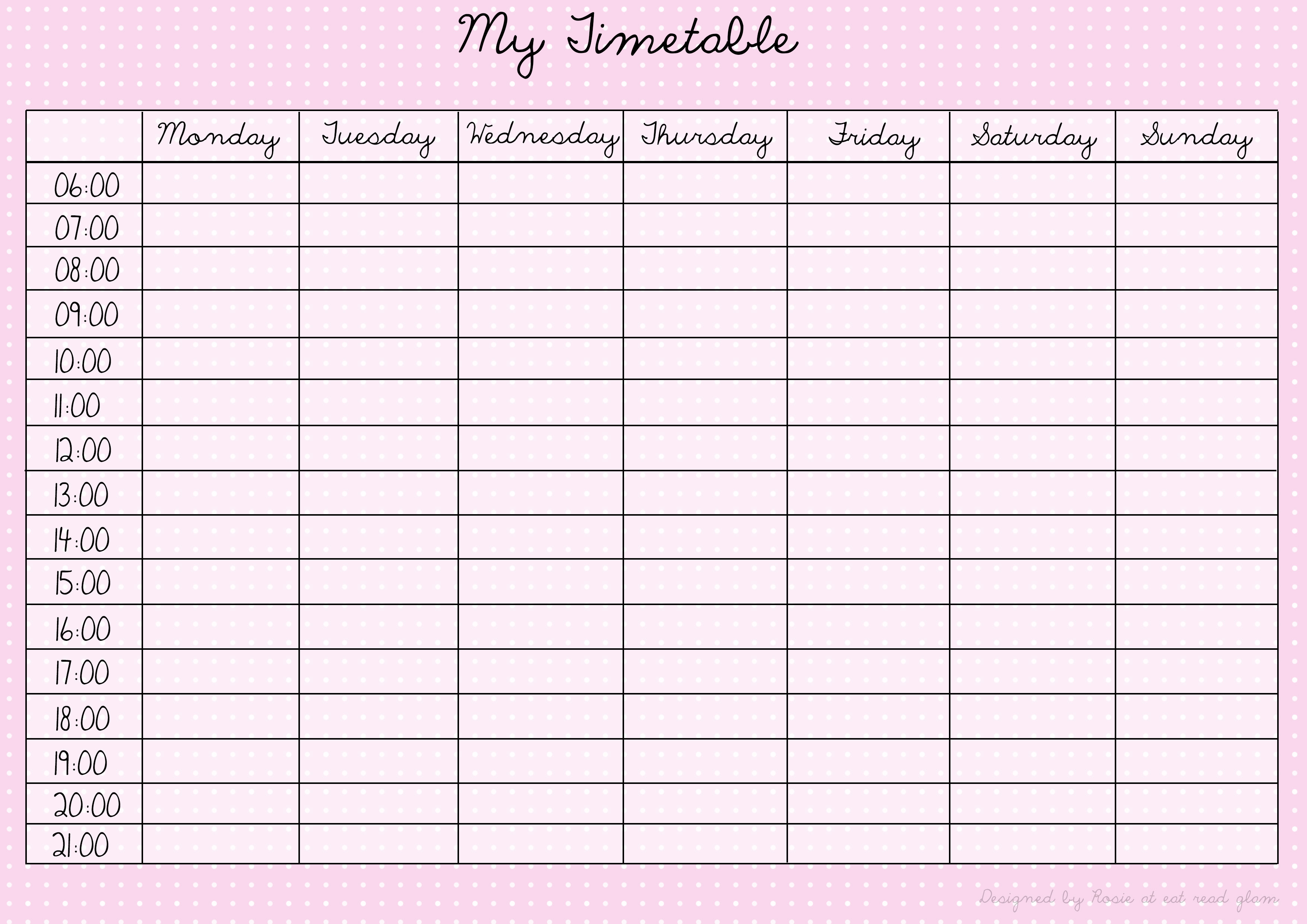 printable revision timetable