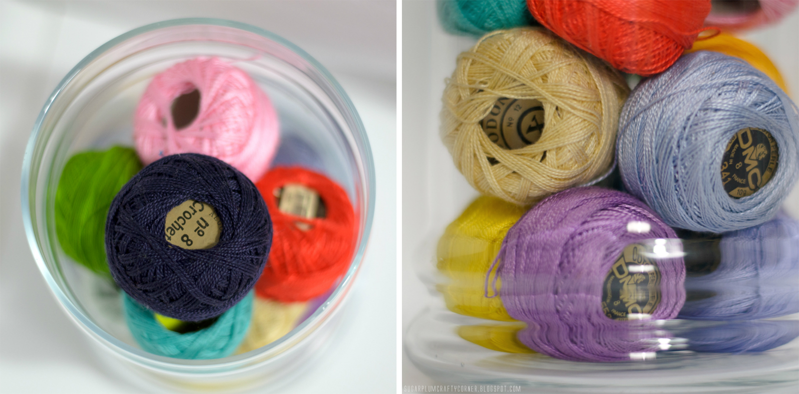 Embroidery Thread Balls Jar Closeup