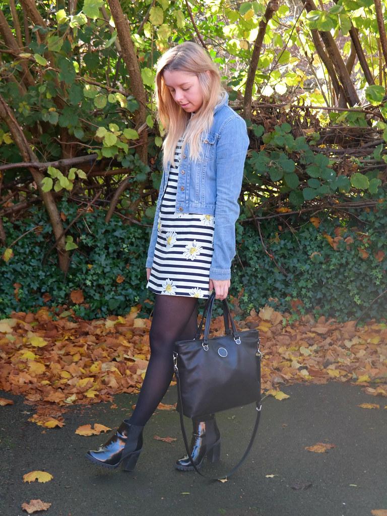 Armani bag, striped collar shift dress | Jazzpad fashion blogger