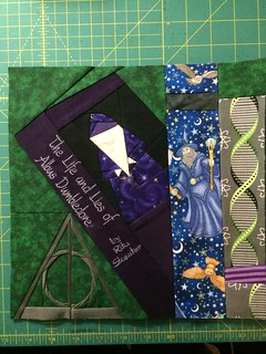Block 3, variation 3 for my personal quilt. Dumbledore still needs eyes, but I love how it turned out!