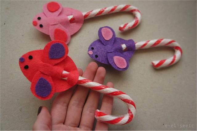 DIY Candy Cane Mice e-eliseetc