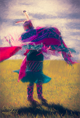Image of a Native American Girl Dancing in Tribal Costume