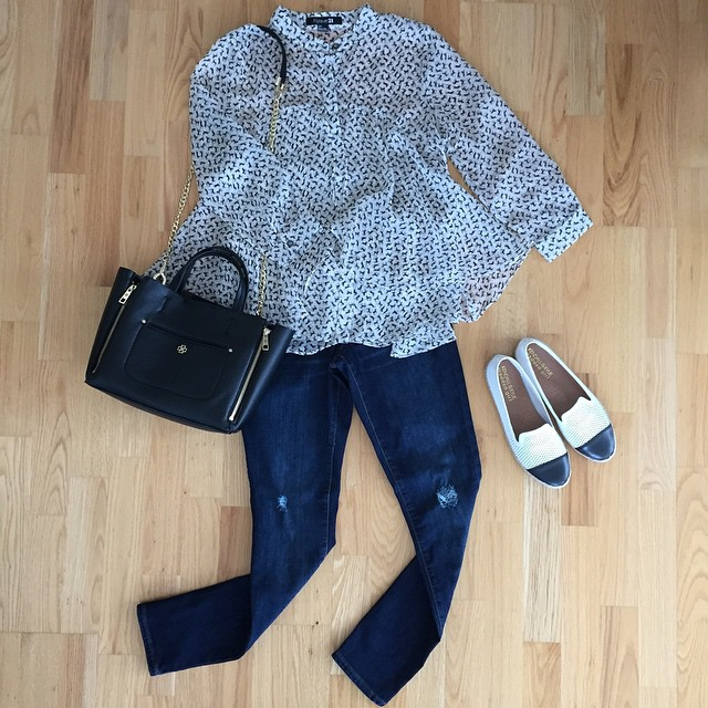 #flatlay of a simple outfit I wore last week. 🐴 #Horse print top is old from @forever21 and I found it via eBay. // Get direct links to the flats and bag @liketoknow.it www.liketk.it/M39e #liketkit