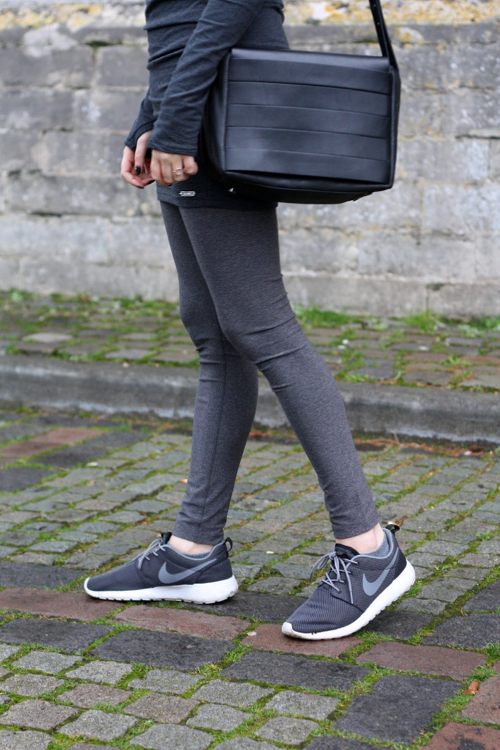 feminine casual outfit: nike roshe runs, and other stories handbag
