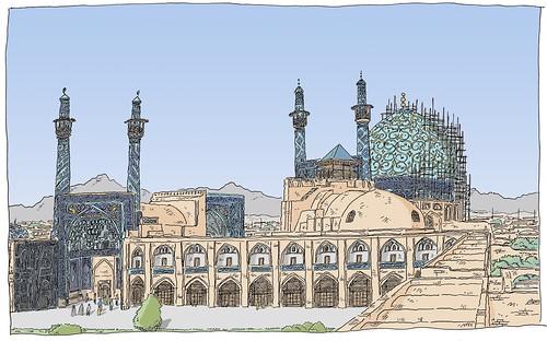 sketch iran drawing dessin unesco esfahan isfahan croquis carnetdevoyage ispahan urbansketch urbansketchers urbansketcher