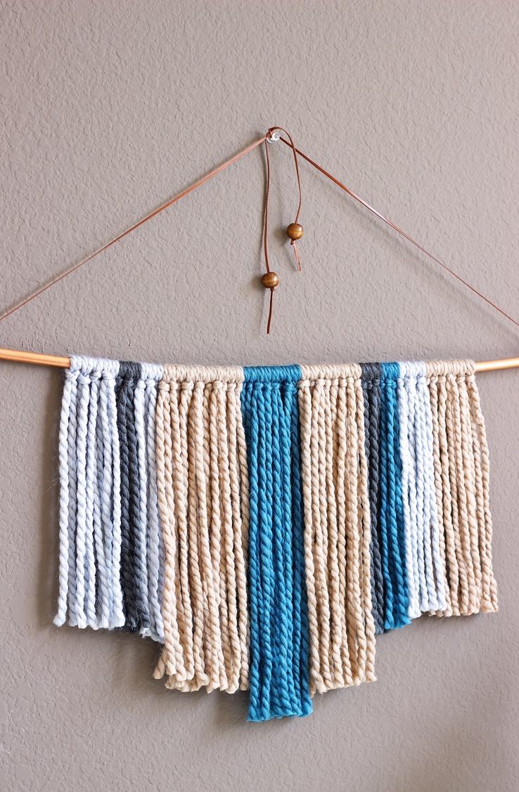 Hanging Wall Decor With Ribbon : Diy copper pipe yarn wall hanging