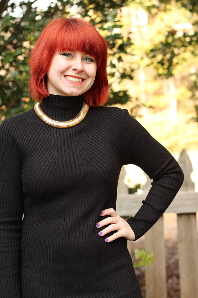 Turtleneck Sweater Dress with a Gold Chunky Choker Necklace