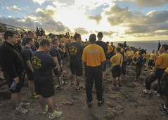 Chief petty officers and first class petty officers from multiple commands across Hawaii gather for a lesson in Naval heritage atop the Makapu'u Point trail. (U.S. Navy/MC1 Brian McNeal)