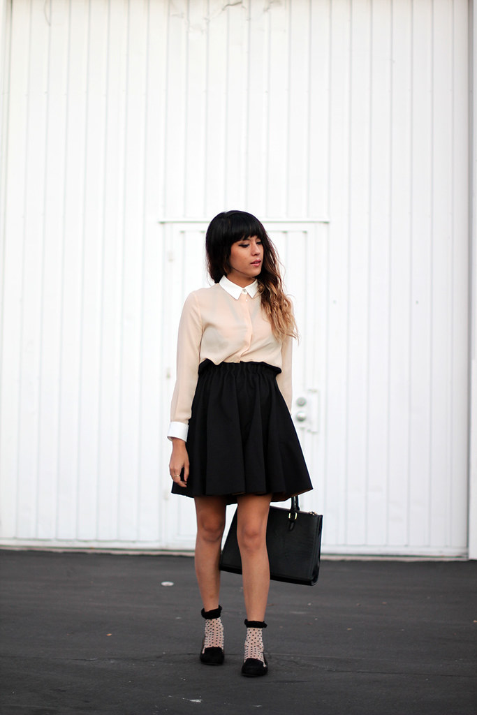 Zara color block blouse and circle skirt