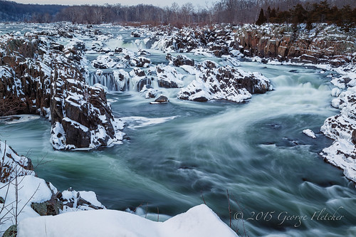 snow evening virginia unitedstates greatfalls potomacriver mclean