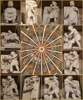 Battistero di Parma: le sculture dei dodici mesi e la cupola