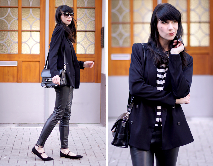 outfit ootd black stripes white look flats bangs spring proenza schouler ps11 mango zara ricarda schernus blog 1