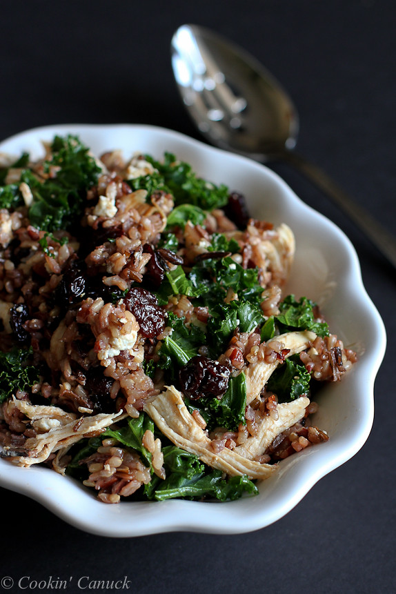 Wild Rice Salad with Chicken, Dried Cherries and Goat Cheese...Bust out the flavor with this easy dinner! 259 calories and 7 Weight Watchers PP | cookincanuck.com