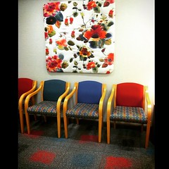 I'm totally in to this waiting room decor.  #flowers #pattern #waitingroom #dentist #decor #picoftheday