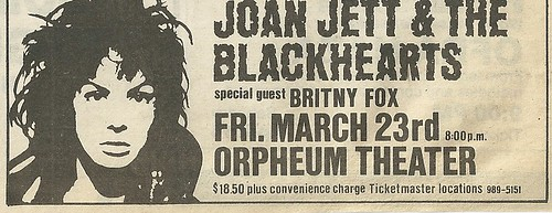 03/23/90 Joan Jett and the Blackhearts/ Britny Fox @ Orpheum Theater, Minneapolis, MN