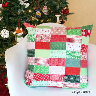 scrappy christmas pillow by karin jordan