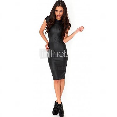 HotGirl женщин сплошной цвет с коротким рукавом PU платье