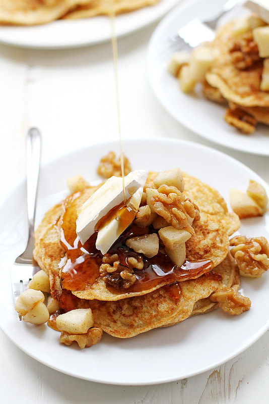 Apple, Walnut and Brie Bread Pudding Pancakes | girlversusdough.com @stephmwise