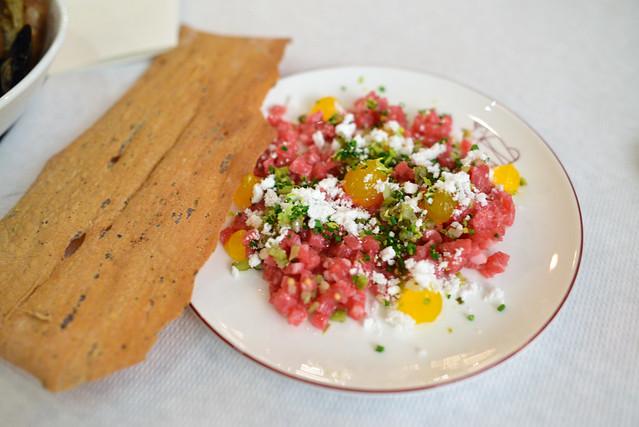 Steak Tartare Egg Yolk, Pissaladiere Lavash