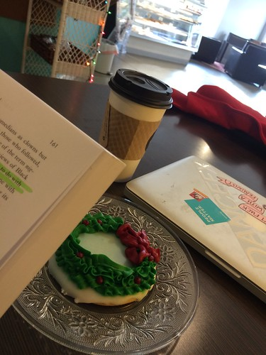 Coffee, cookie, reading for next semester