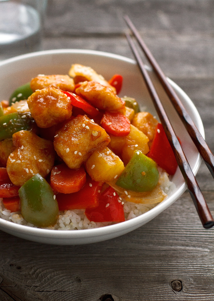 Lighter Sweet and Sour Chicken - it takes just 30 minutes from start to finish and it's healthier than your local takeout! #chinesefood #sweetandsour #asian #friedrice #chickenandvegetables | littlespicejar.com