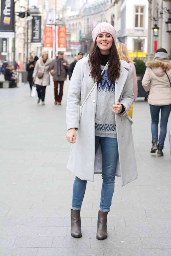 warm winter outfit: grey wool winter coat, fair isle knit