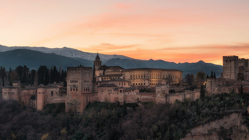 lighting old longexposure morning travel winter light sky panorama cloud sunlight mountain snow color tower history architecture forest sunrise landscape dawn spain nikon europe view culture andalucia alhambra granada andalusia fortress alcarza