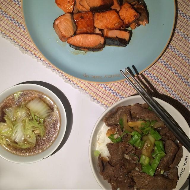 Today's homemade dindins: Gyu-niku don, salmon teriyaki & napa cabbage soup.