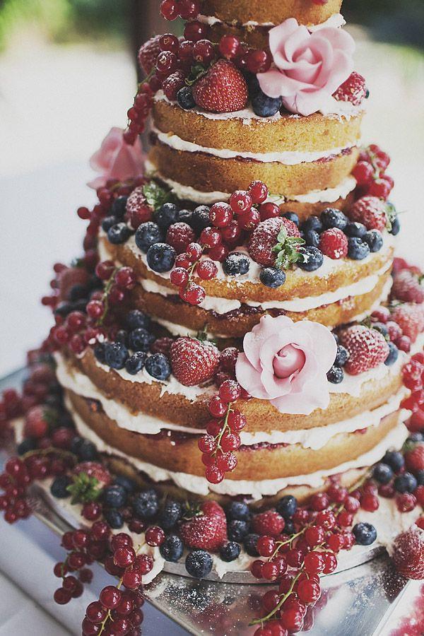Naked wedding cake flowers and fruit
