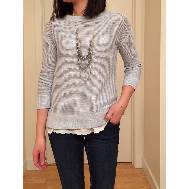 I loved this @loft marled bateau #sweater so much I got it in the blue fog color too! 😁 @liketoknow.it www.liketk.it/Zfl2 #liketkit #loveLOFT #liveloveloft #bfftrends #hm #scallop #cami #oldnavy #skinnyjeans #bloomingdales #necklace #ootd