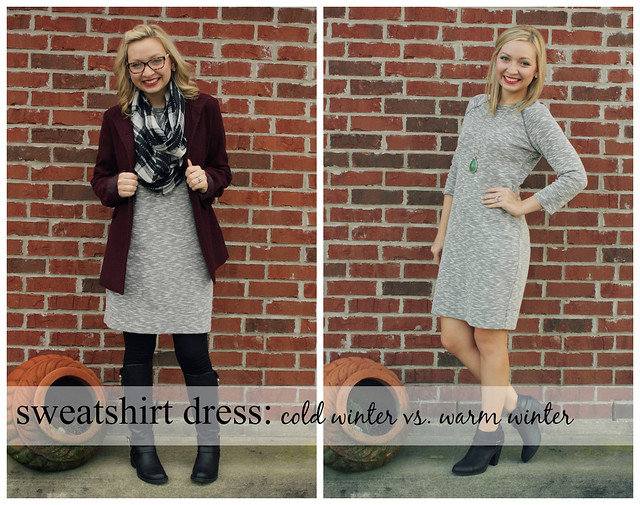 sweatshirt dress cold winter vs. warm winter
