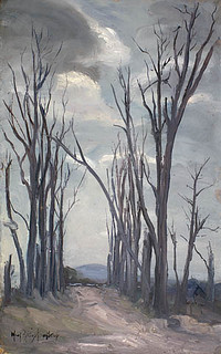 """Ruins of the Chateau Grounds near Ypres,"" a painting by Mary Riter Hamilton, 1921 /  « Le terrain du château d'Ypres en ruines »; tableau peint par Mary Riter Hamilton en 1921"