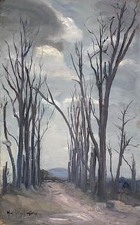 """Ruins of the Chateau Grounds near Ypres,"" a painting by Mary Riter Hamilton, 1921 /  « Le terrain du château d'Ypres en ruines »; tableau peint par Mary Riter Hamilton en 1921"