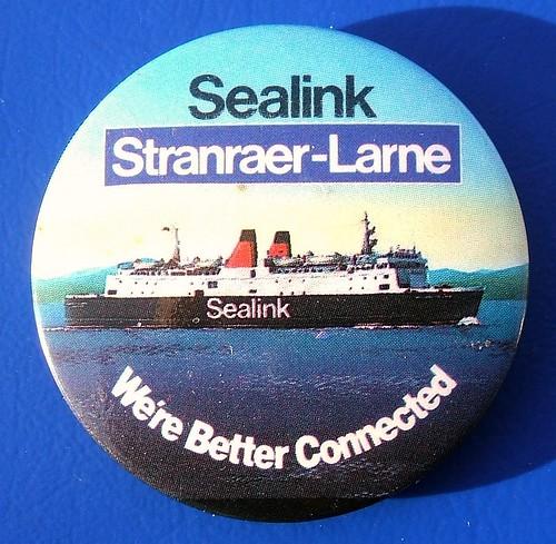 Sealink Stranraer-Larne - merchandise/promotional button badge (c.1982)