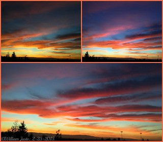 A Fiery Sunset Sky Painting Over The City This Evening! (2-25-15) Collage #6