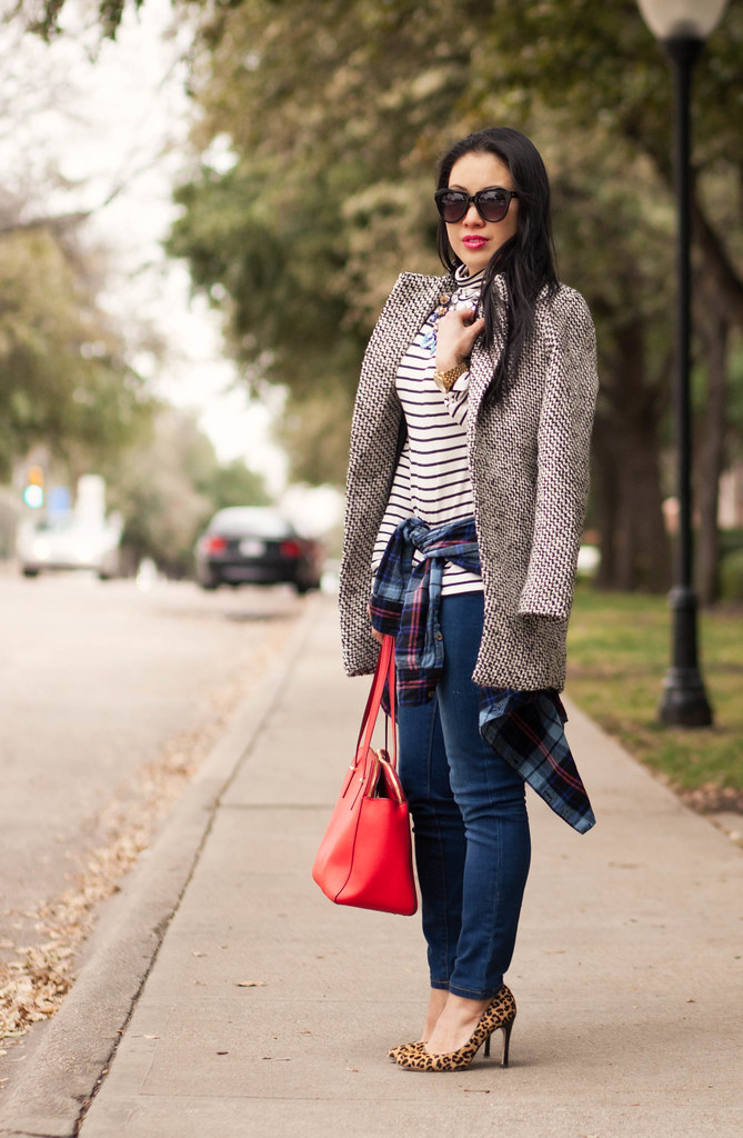 cute & little blog | petite fashion | striped turtleneck, waist tied plaid shirt, leopard pumps, red bag, statement necklace outfit