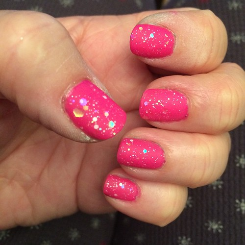 Feeling better today. Pink base, glitter then matte top coat. #nailart