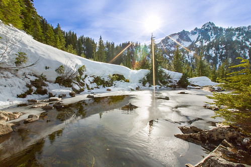 sun snow mountains ice reflections pond snowlake sunstar