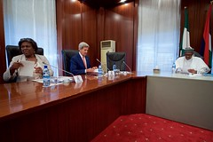 U.S. Secretary of State John Kerry, flanked by Assistant Secretary of State for African Affairs Linda Thomas-Greenfield, looks over his notes on August 23, 2016, at the Presidential Villa in Abuja, Nigeria, before a bilateral meeting Nigerian President Muhummadu Buhari preceding other discussions with Foreign Minister Geoffrey Onyeama and Governors of the country's Northern region. [State Department Photo/ Public Domain]