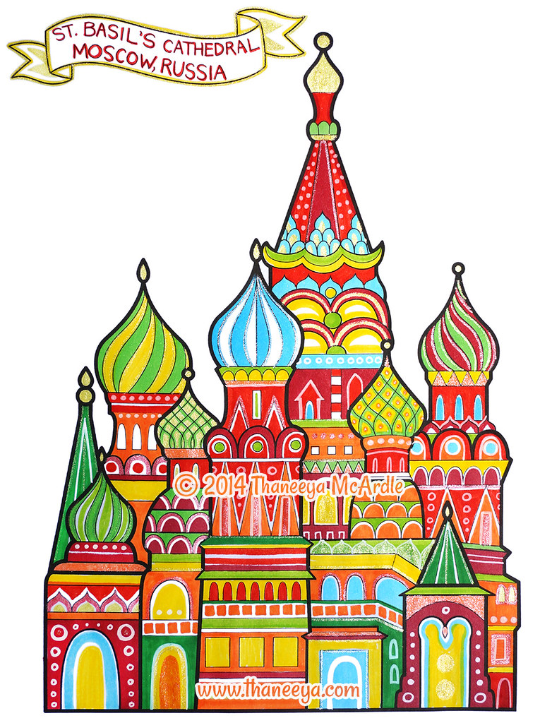 St Basils Cathedral Coloring Page Art By Thaneeya McArdle
