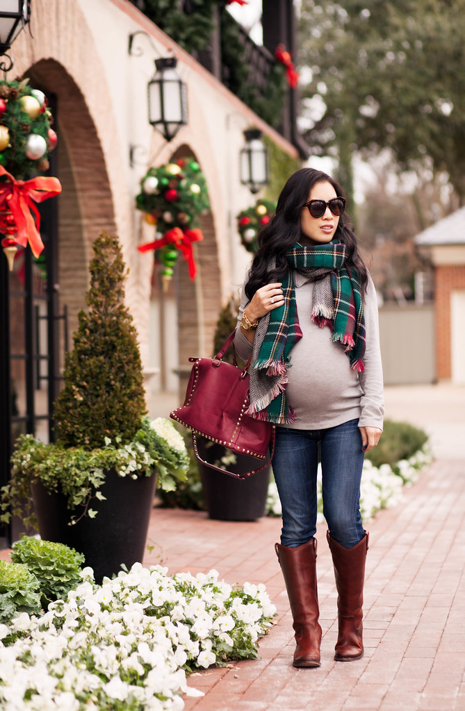 cute & little blog | petite fashion maternity | green plaid herringbone scarf, frye melissa button riding boots, burgundy studded satchel | fall winter outfit