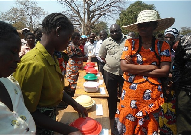 Yummy! Farmers display grain legume meals they prepared at the end of a nutrition workshop organized by Africa RISING among the Ngoni Community in Ntcheu District, Malawi (Photo credit: Isaac Jambo)