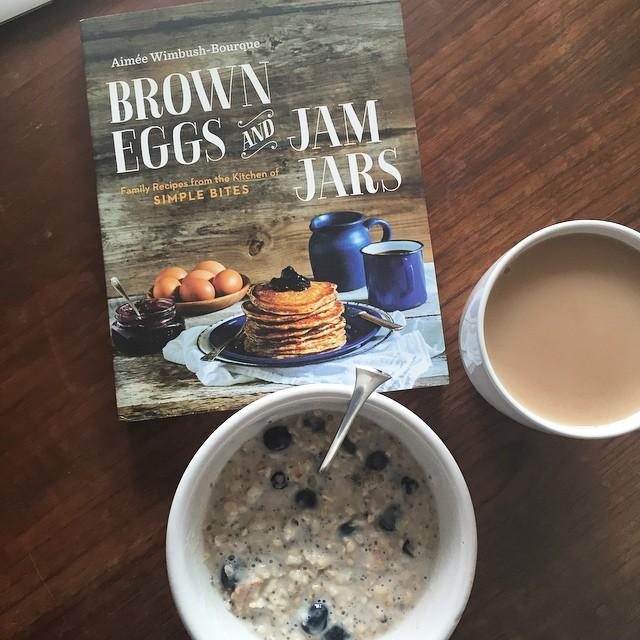 Tea, oatmeal, and @aimeebourque's beautiful book!