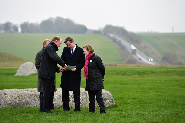 Prime Minister David Cameron visits Stonehenge which will benefit from improvements to the A303