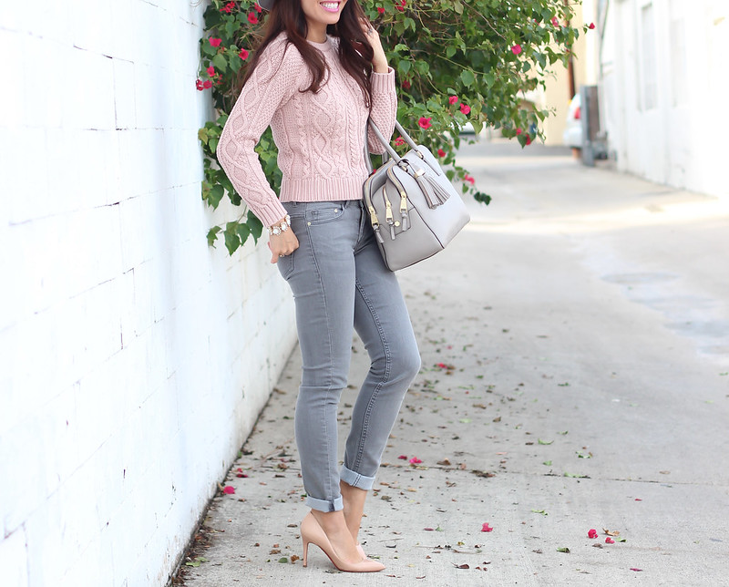 Grey Skinny Jeans, Gap Cable Sweater and J.Crew Lady Day Coat